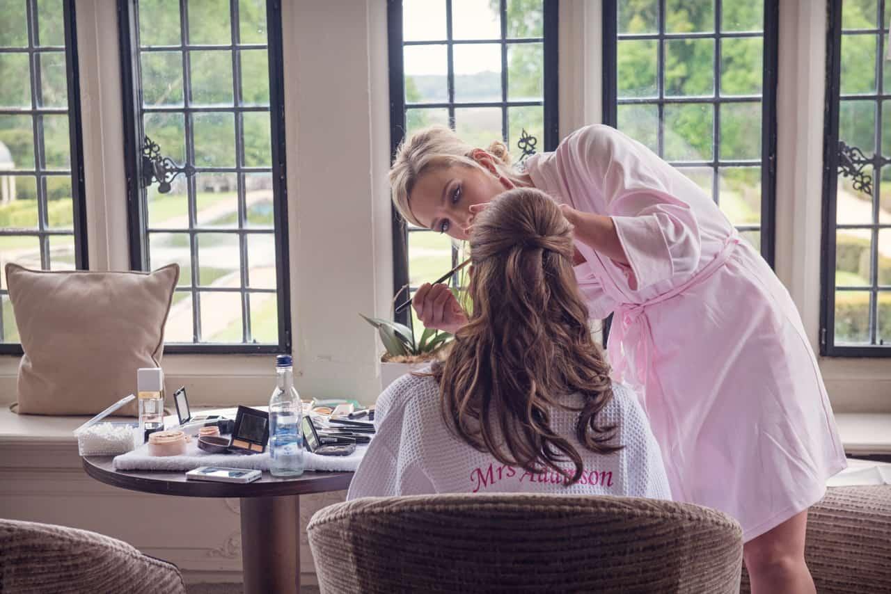 Bridal makeup at Wedding Dress at Rhinefield House
