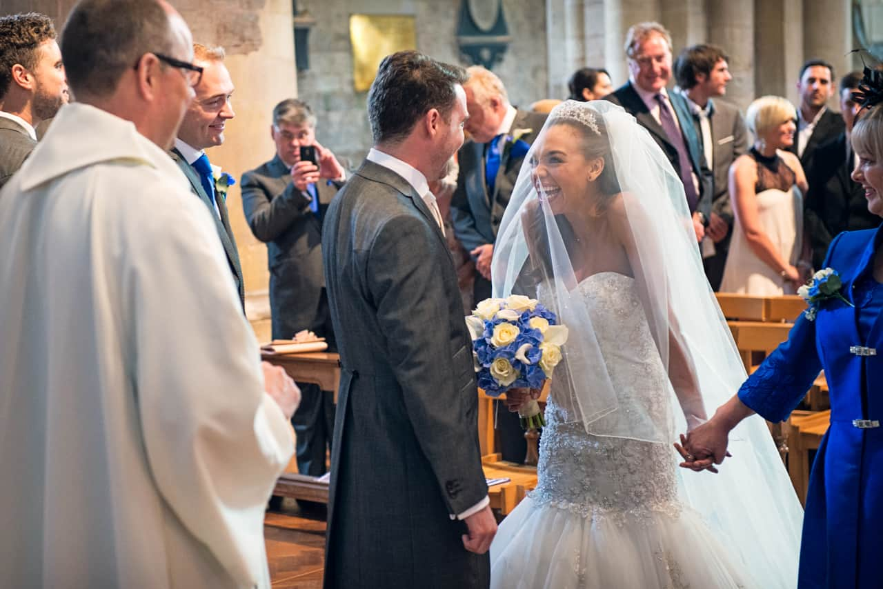 Bride sees groom for first time at Romsey Abbey wedding venue