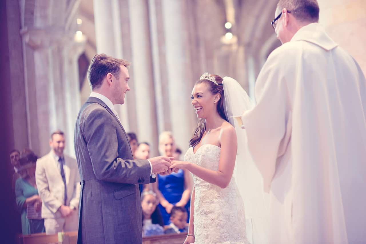 Wedding vows at Romsey Abbey wedding venue
