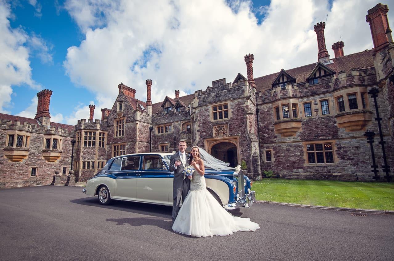Rhinefield House wedding photographs with wedding car
