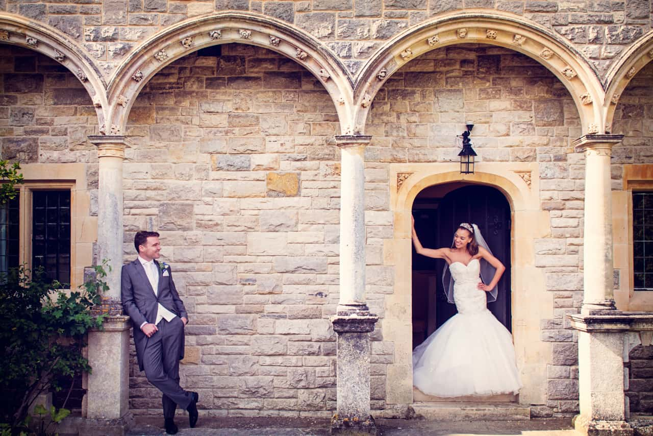 Wedding photography of bride and groom at Rhinefield House