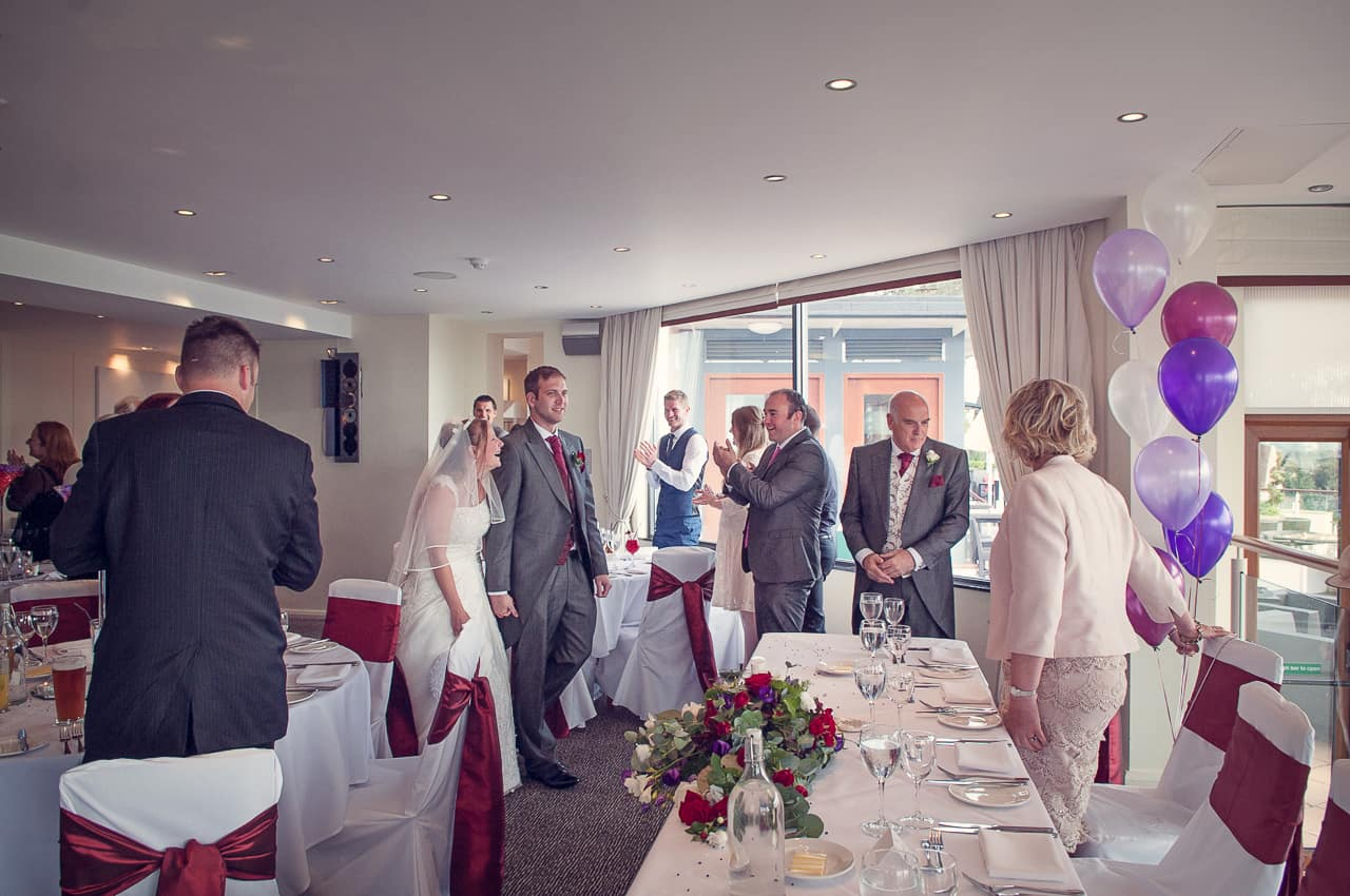 Bride and groom arrive at Harbour Heights Hotel