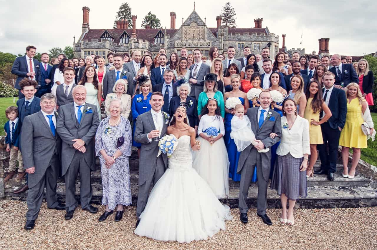 Wedding group photograph at Rhinefield House wedding