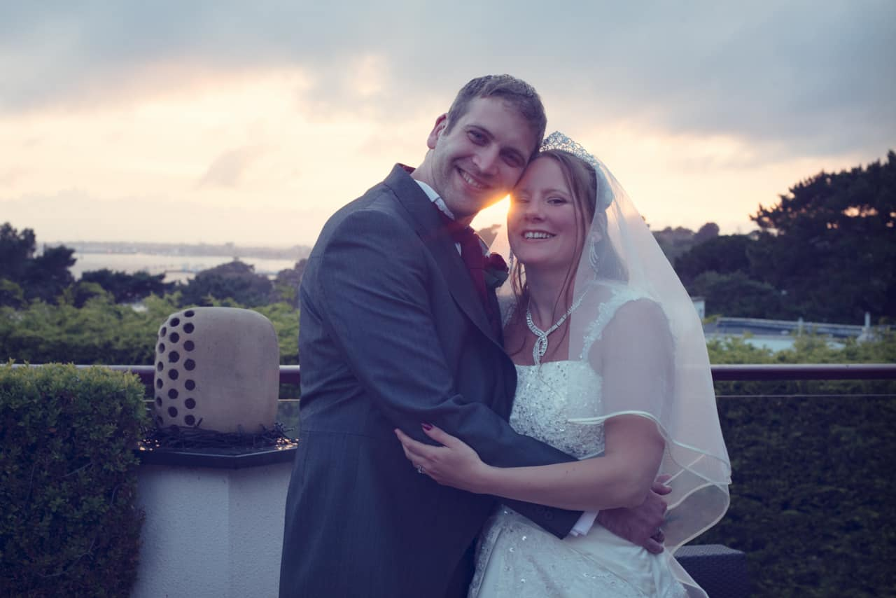 Bride and groom at harbour heights wedding sunset