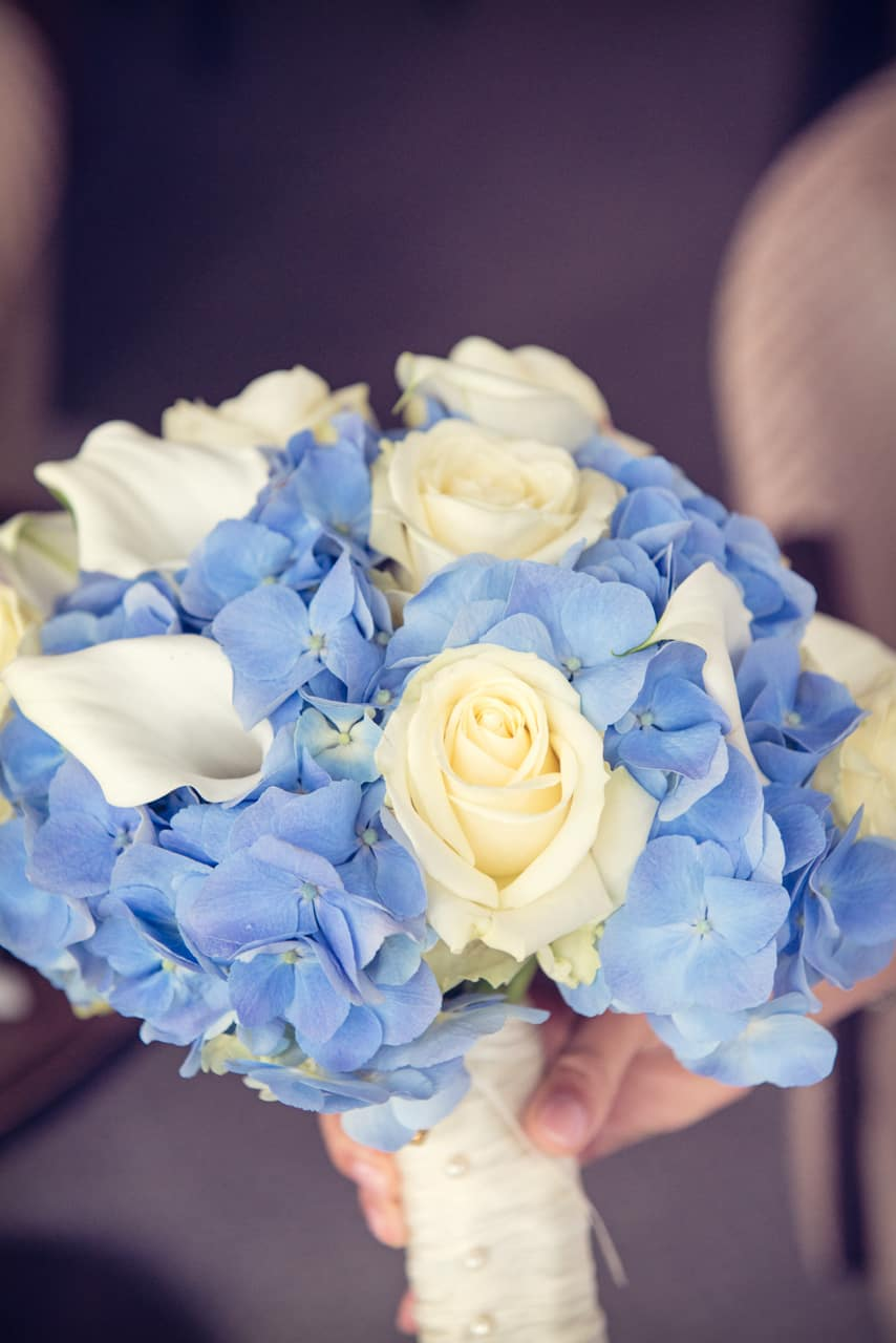Wedding morning photograph of Brides Bouquet at Rhinefield House