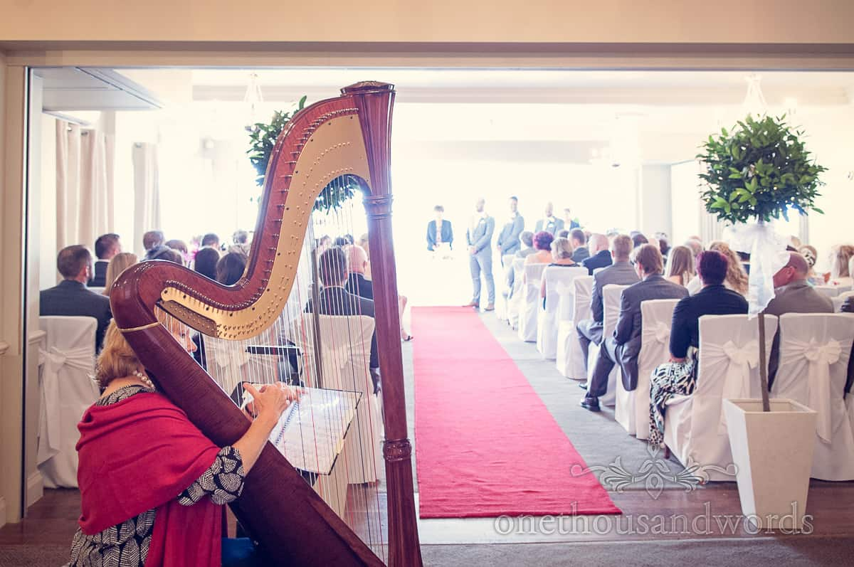 Harpist at Christchurch Harbour Hotel Wedding