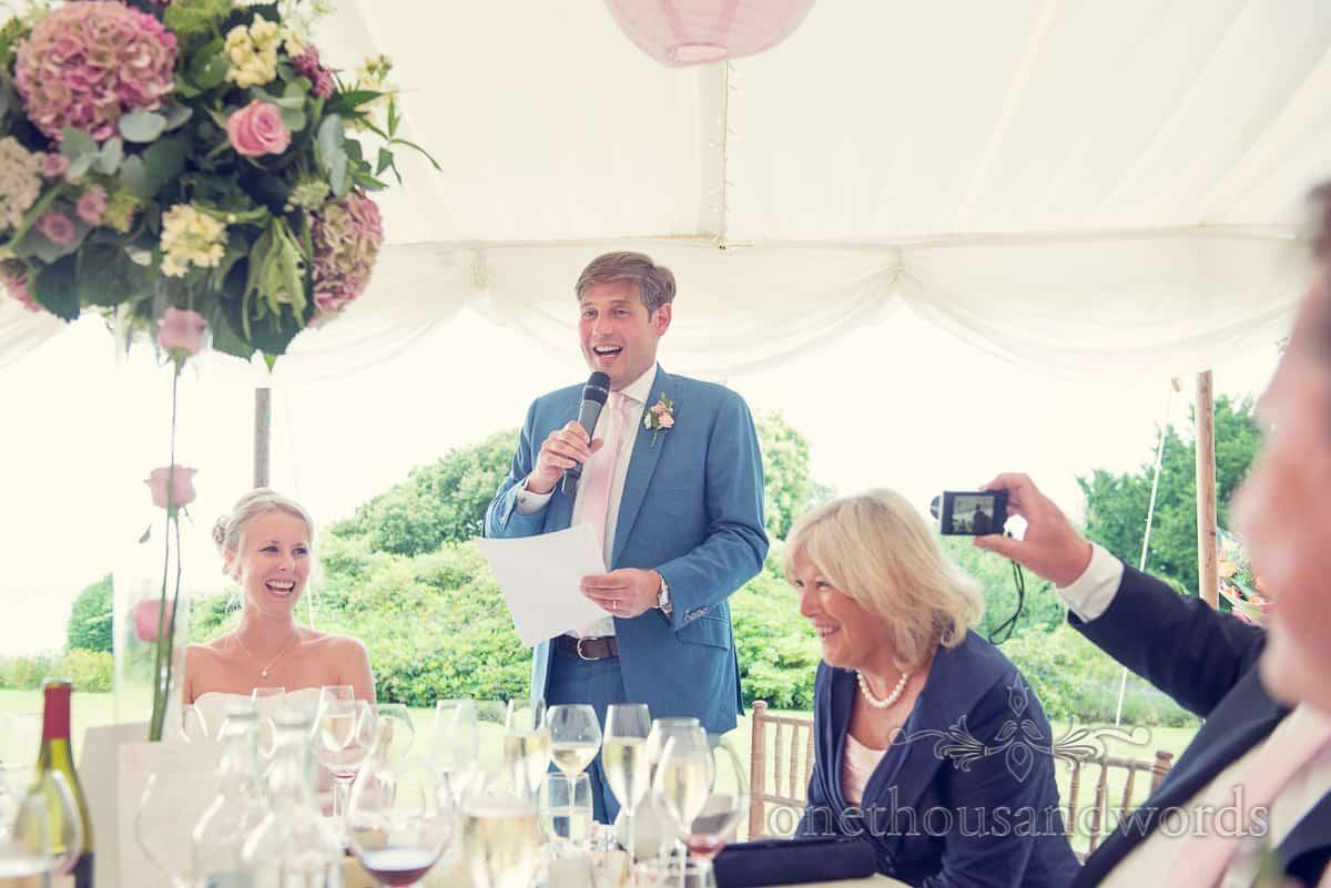 Grooms speech at Harry Warren House, Studland wedding