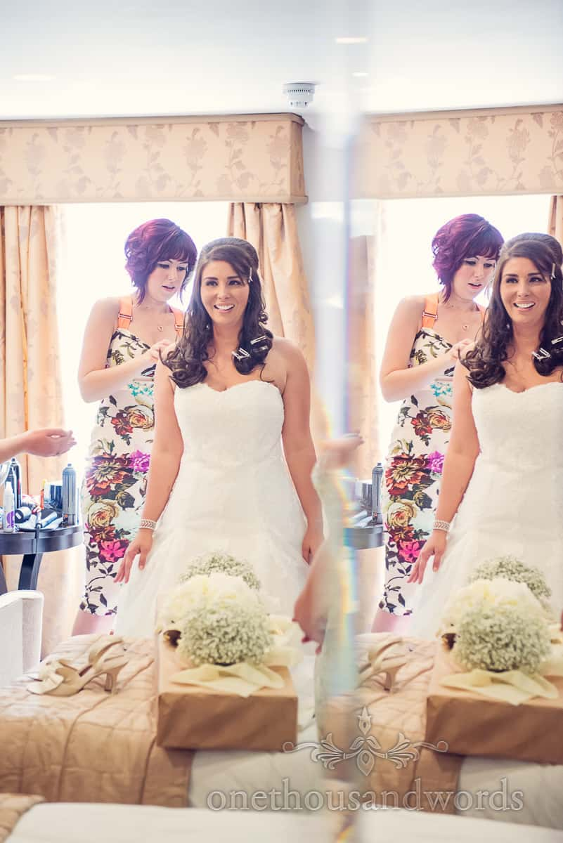 Bride in mirror at Christchurch Harbour Hotel