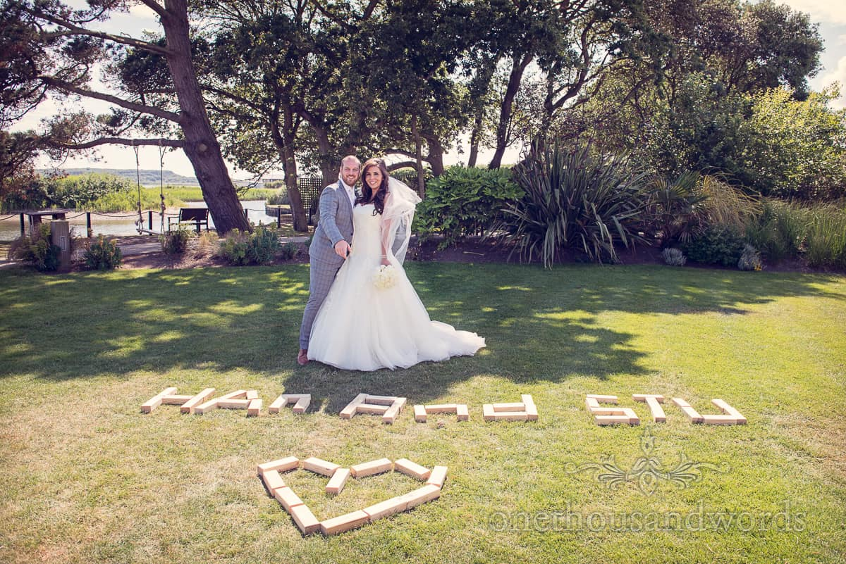 Bride and Groom at Christchurch Harbour Hotel