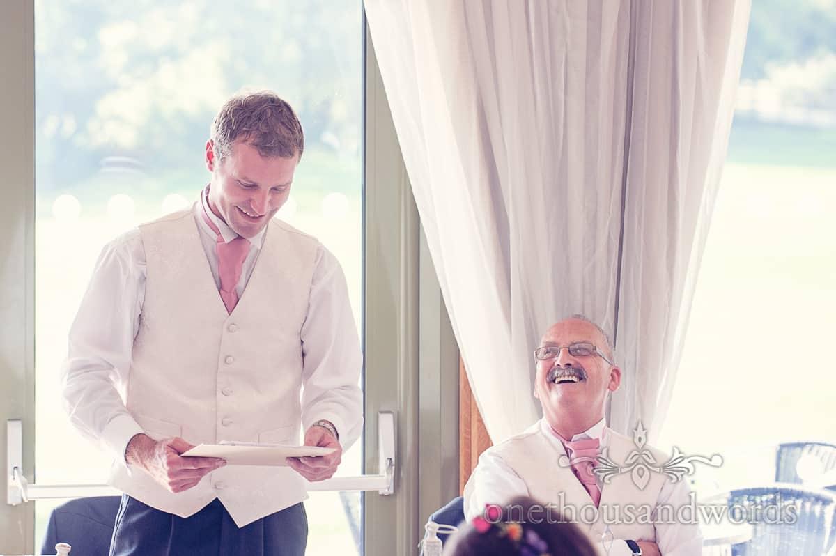 Harmans Cross Village Hall wedding est Mans speech