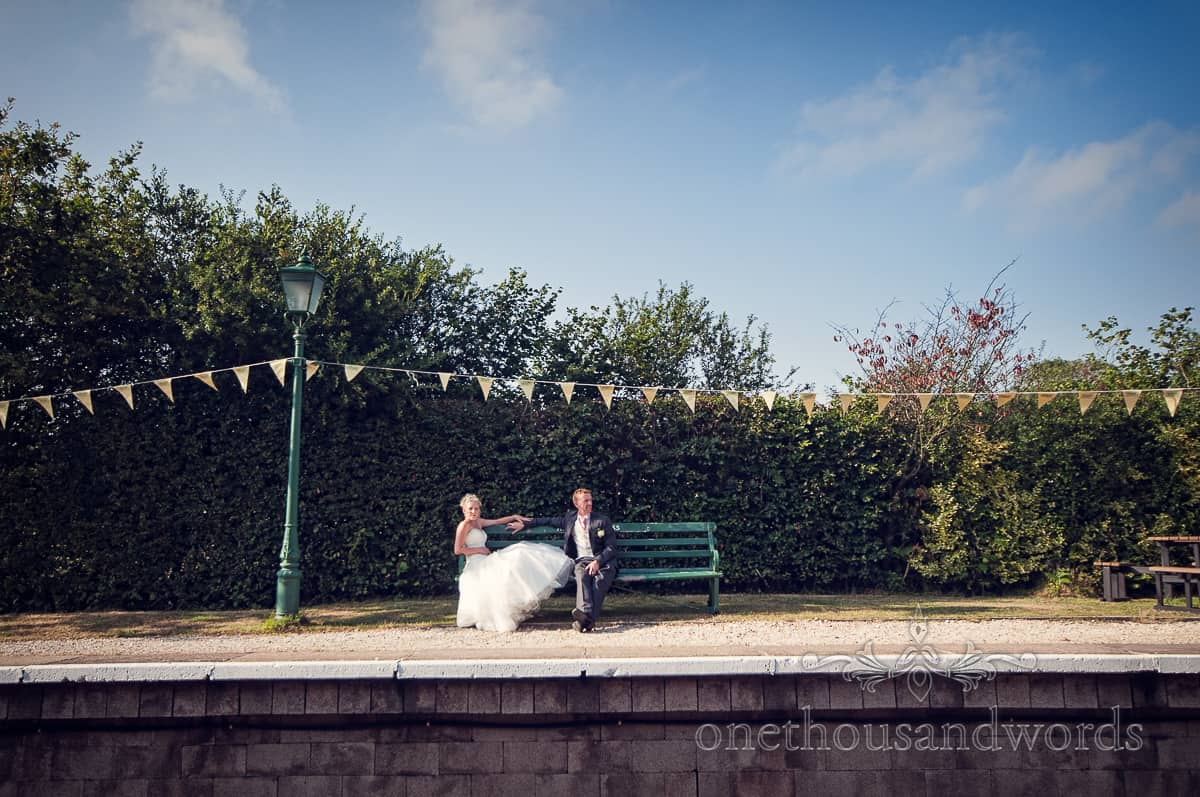 Bride and Groom at Steam Railway station