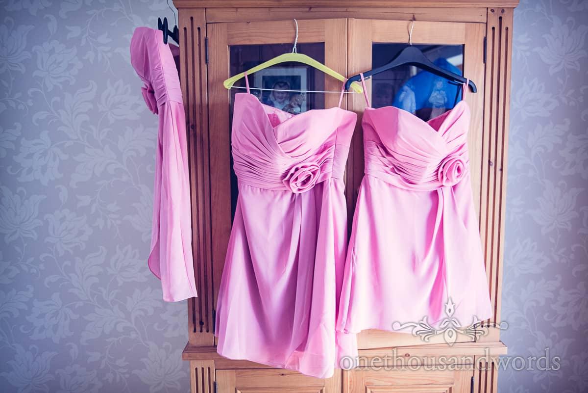 Swanage wedding morning, bridesmaids dresses