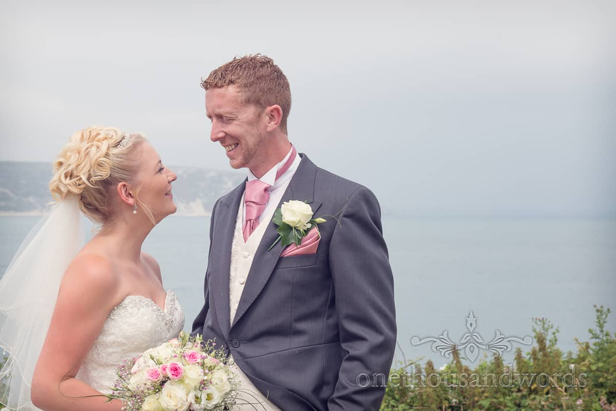 Bride and groom wedding photographers in Swanage