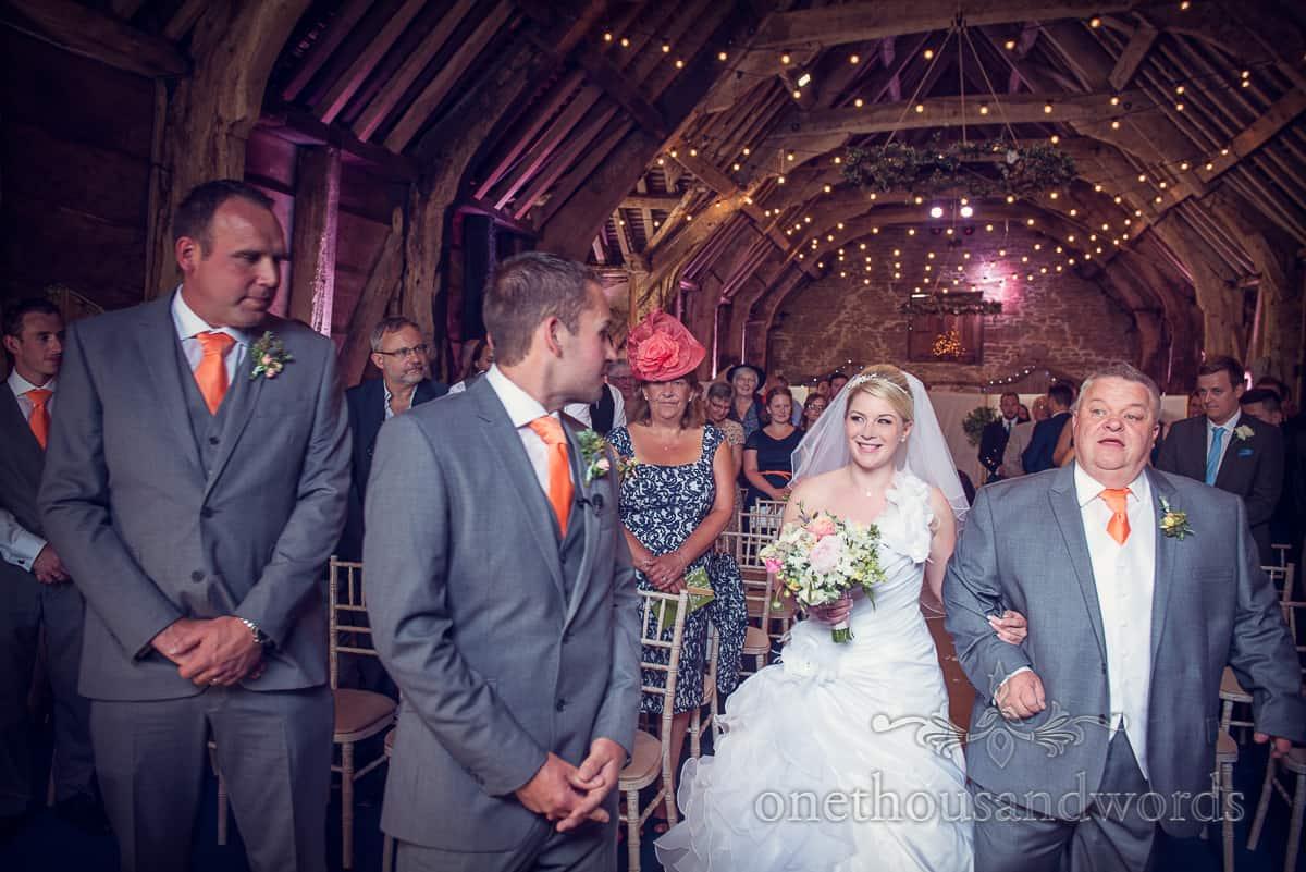 Stockbridge Farm Barn wedding ceremony photograph