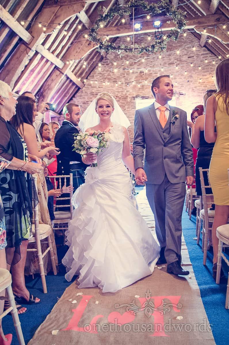 Custom wedding carpet at Stockbridge Farm Barn