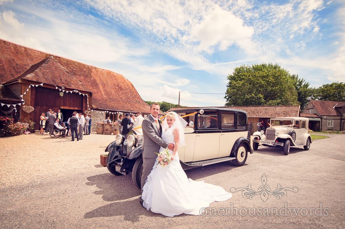Wedding cars at Stockbridge Farm Barn