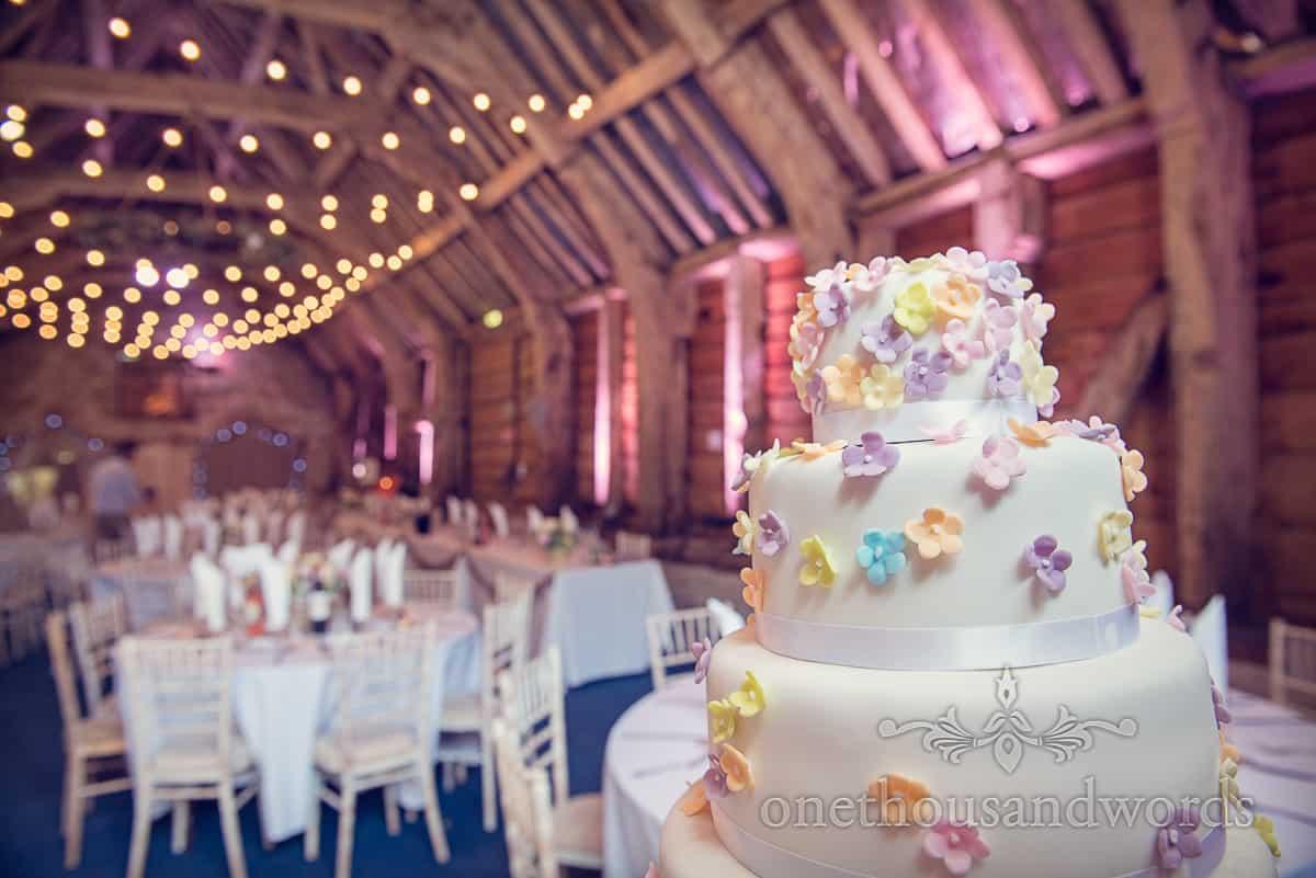 Wedding cake at Stockbridge Farm Barn