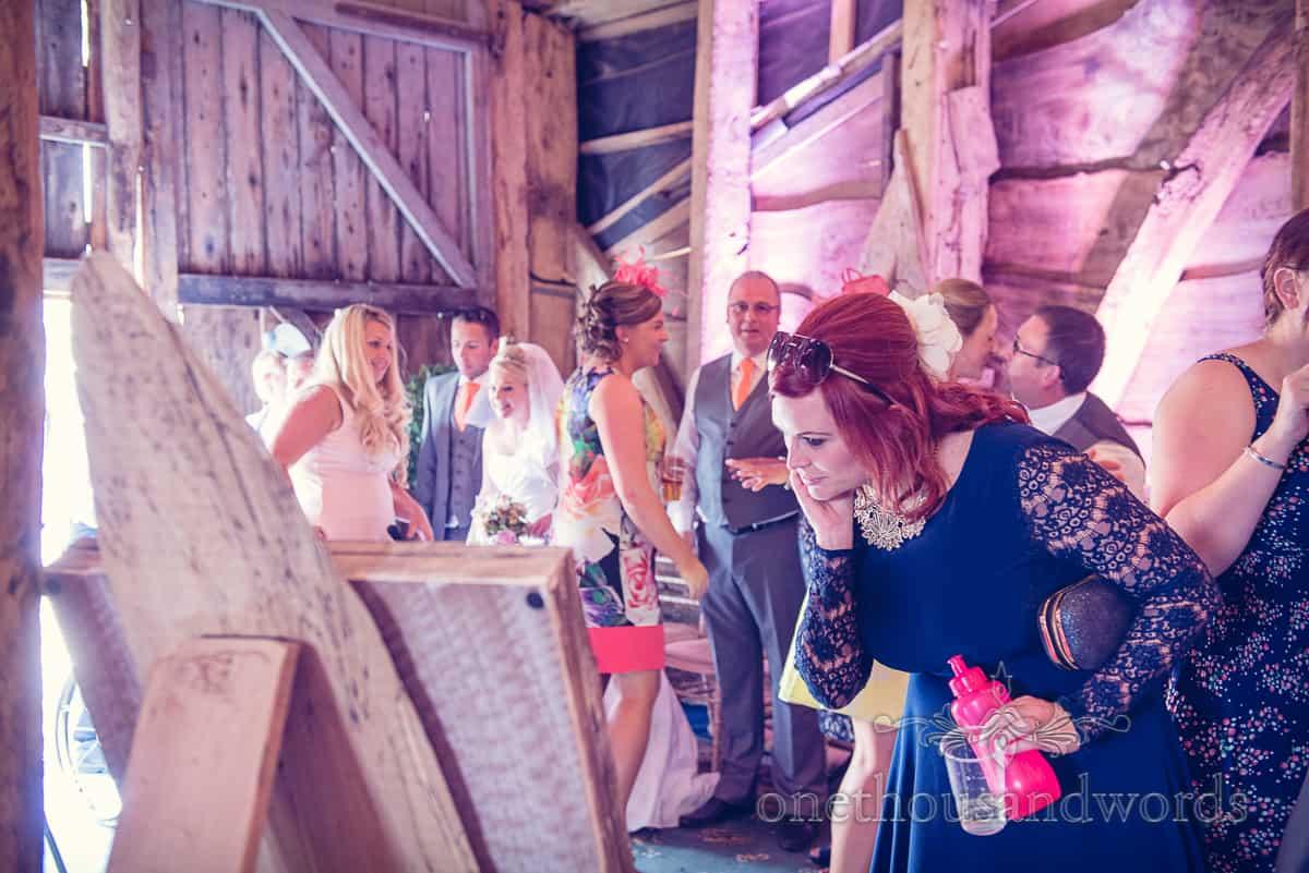 wedding guest at Stockbridge Farm Barn