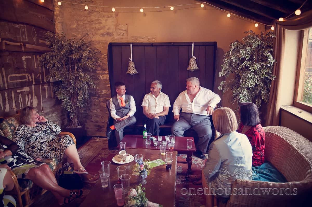 wedding guests at Barn wedding