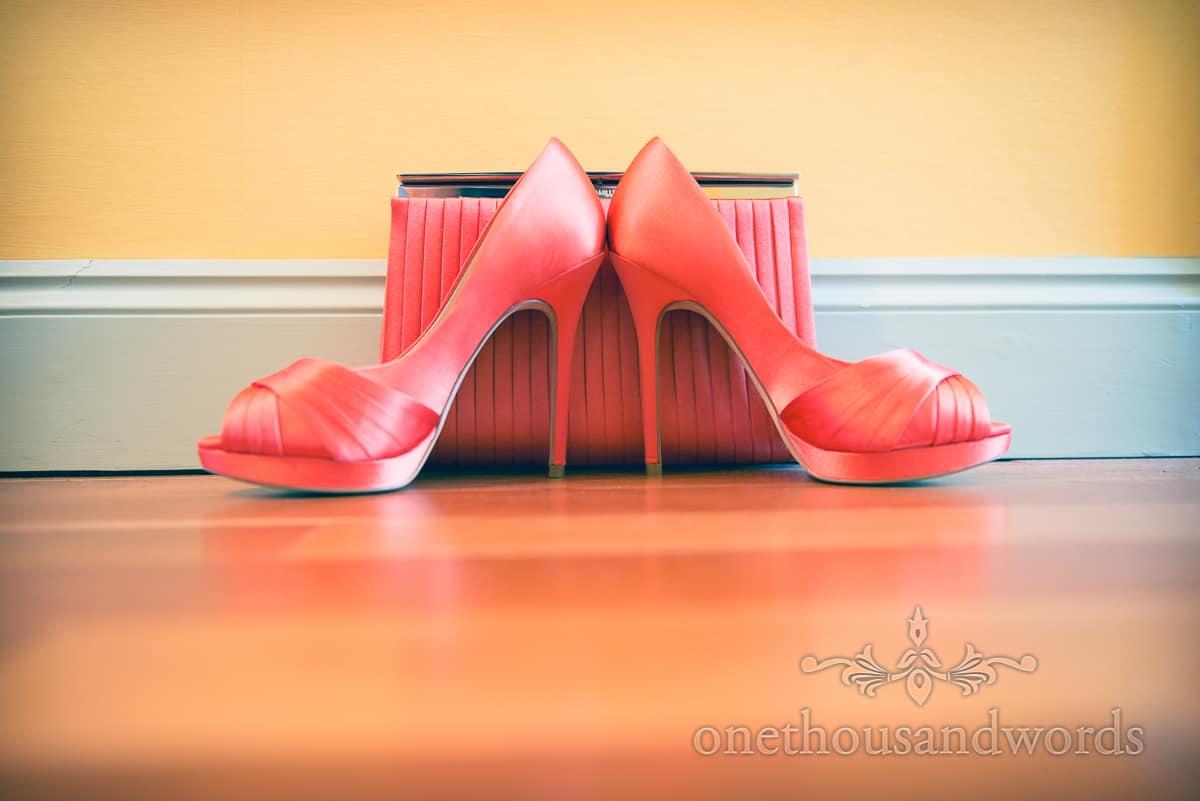 Ornage wedding shoes and bag