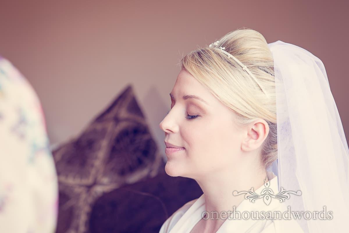 Bride has wedding makeup styled