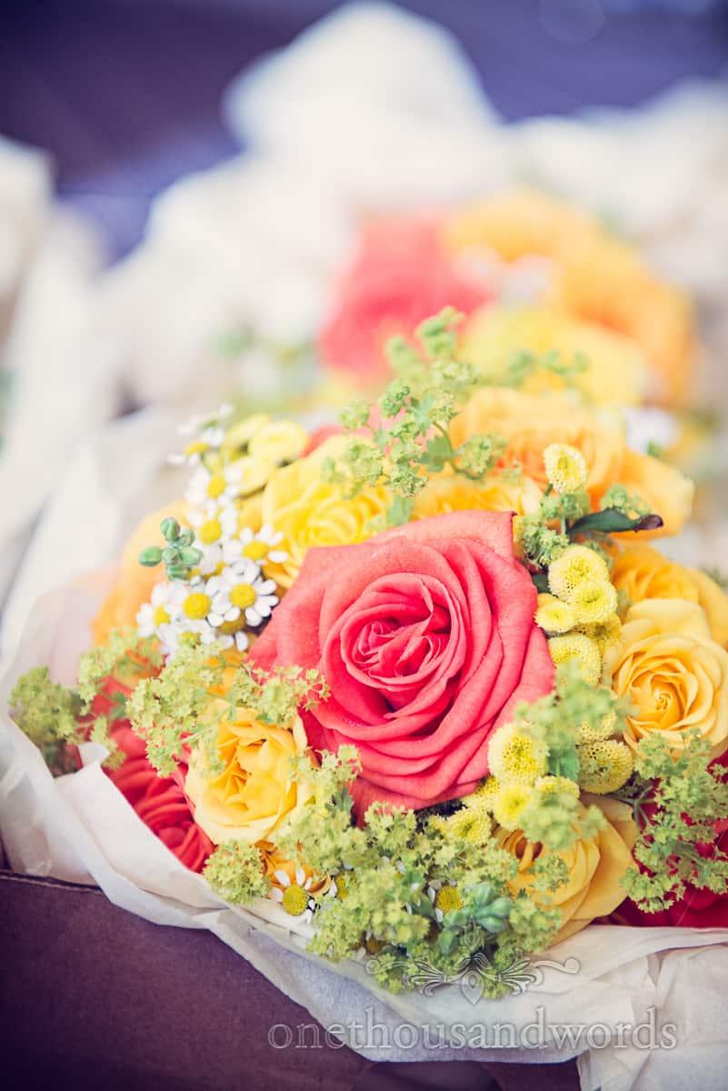 Bright colourful wedding flower bouquet