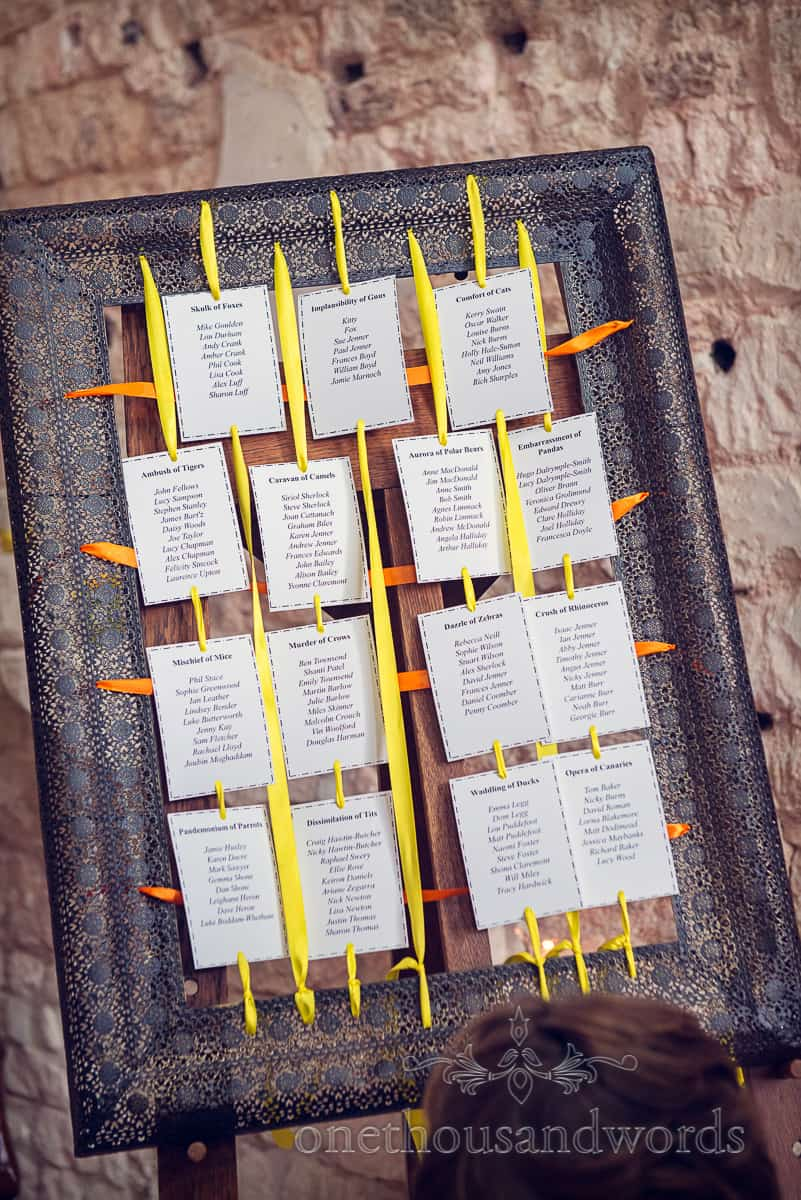 Wedding seating plan made from picture frame with ribbons