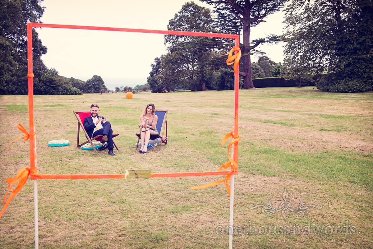 relaxing guests at Lulworth Castle Wedding