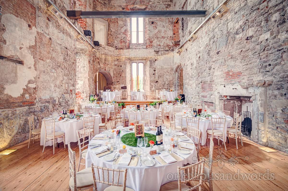 Lulworth Castle Wedding breakfast set up
