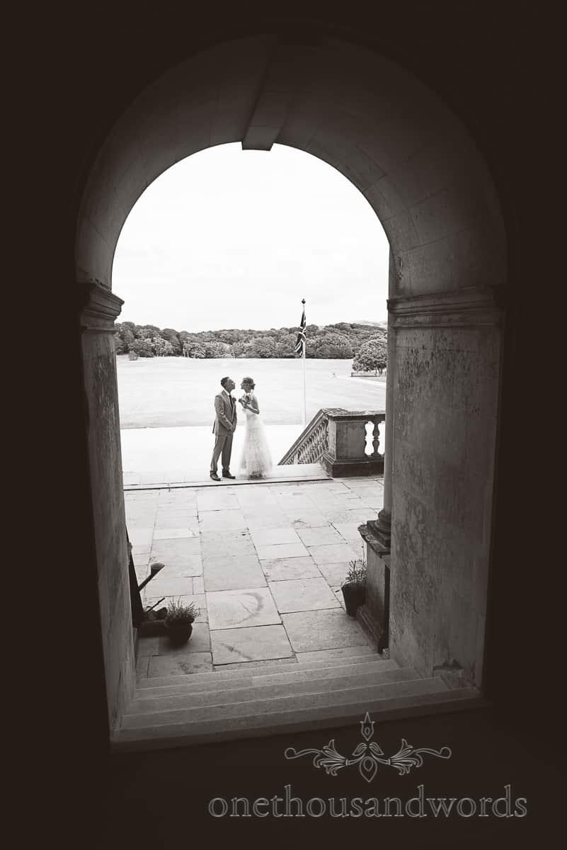 Lulworth Castle documentary Wedding photograph black and white