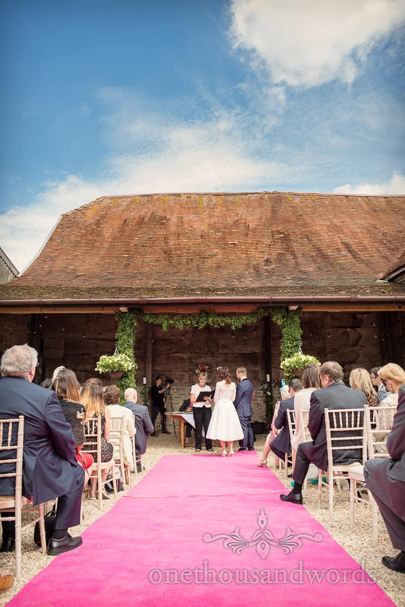 Stockbridge Farm Barn outdoor wedding ceremony
