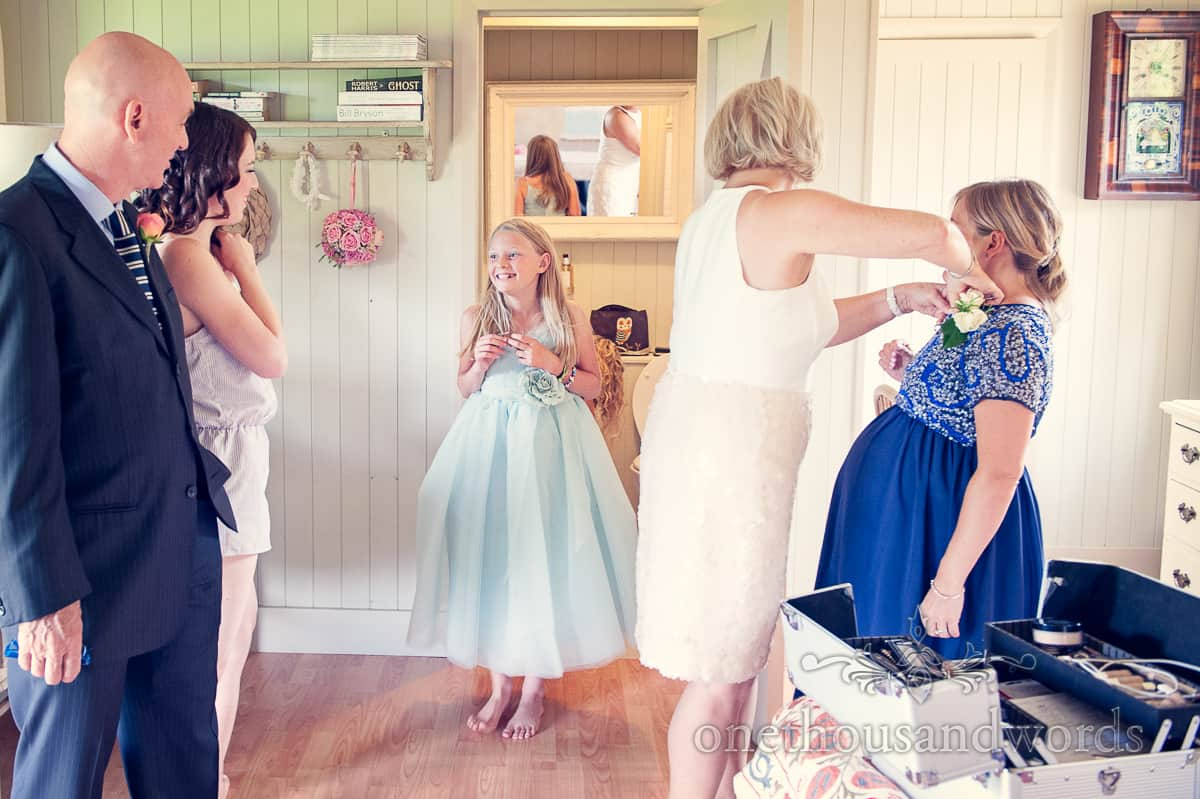 Flowergirl at Stockbridge farm barn wedding photographs