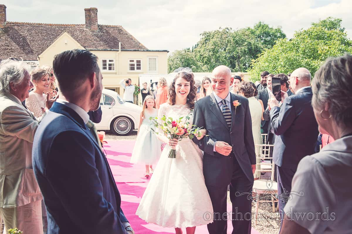 Bride and father of the bride at Stockbridge Farm Barn