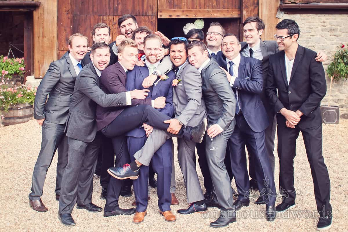 Groom and groomsmen at Stockbridge Farm Barn wedding photographs