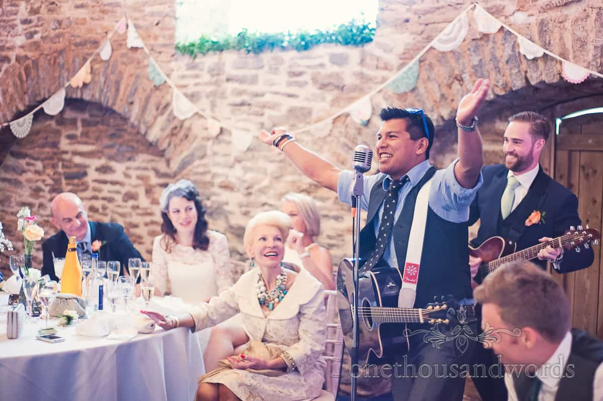 Singing at Stockbridge Farm Barn Wedding