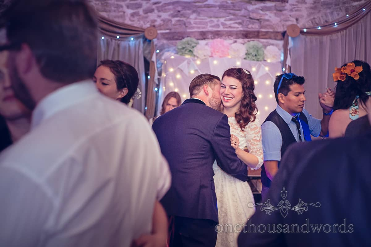 Bride dances at Stockbrdge Farm Barn Wedding