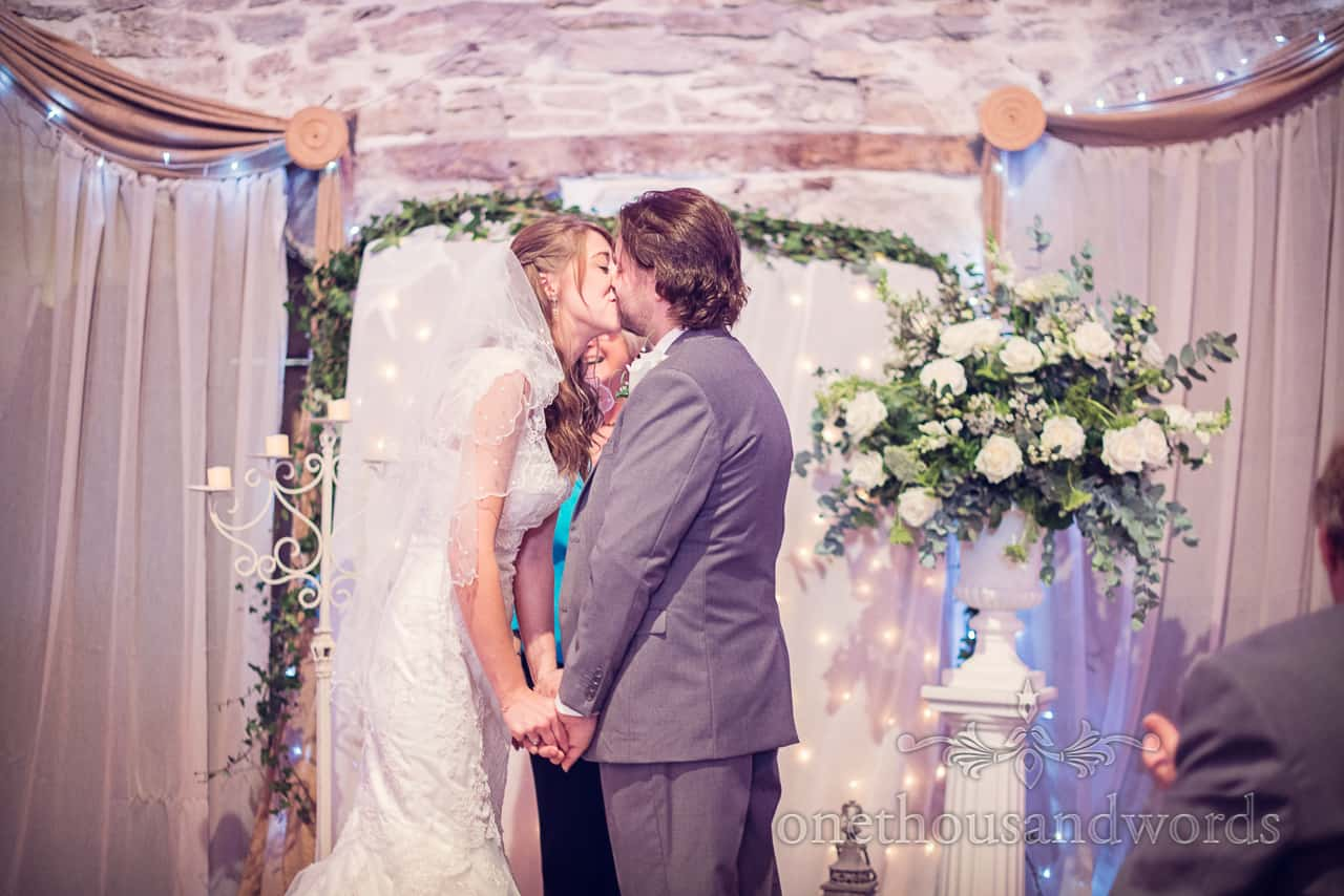 Dorset Barn Wedding first kiss