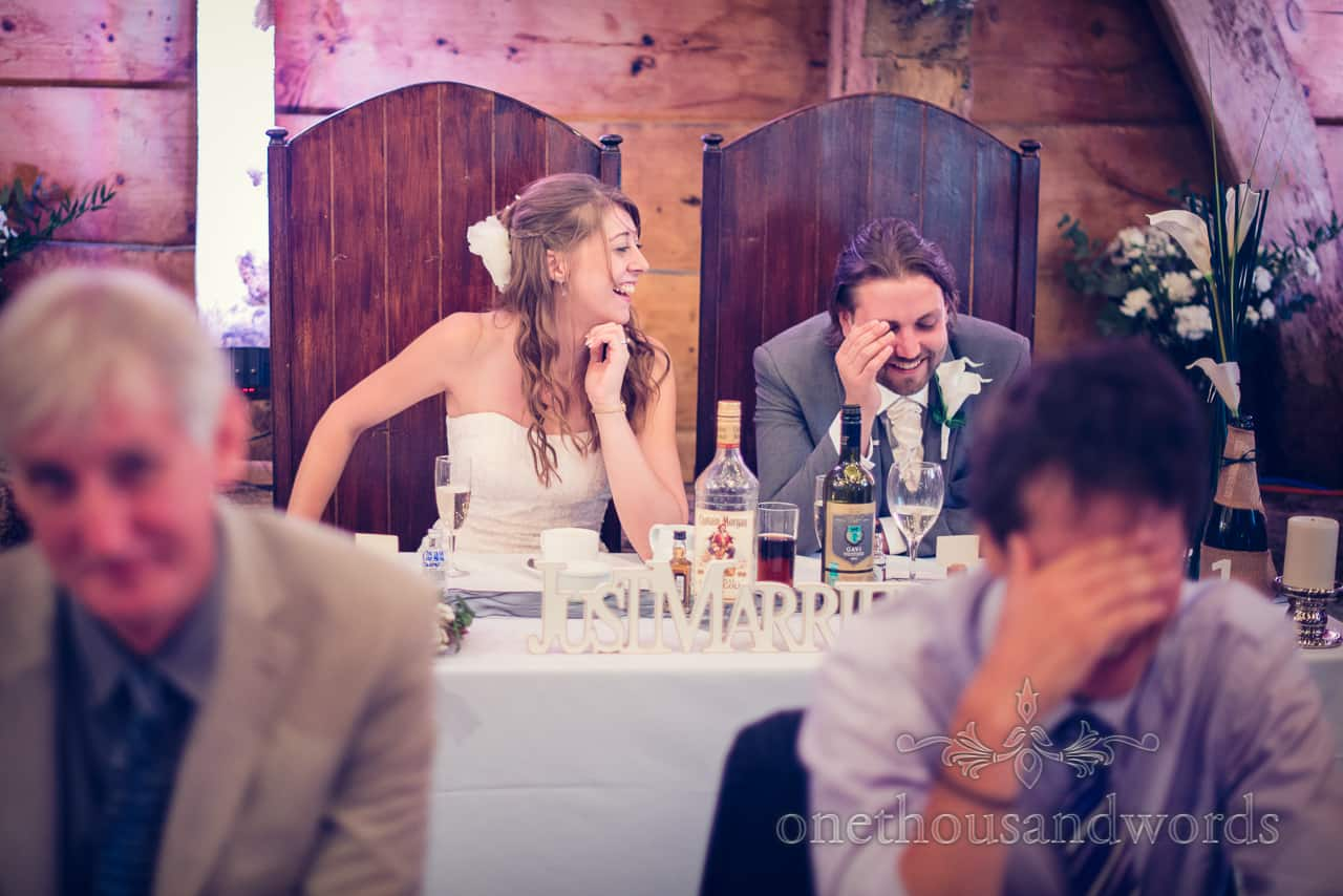 wedding speech reactions Dorset barn