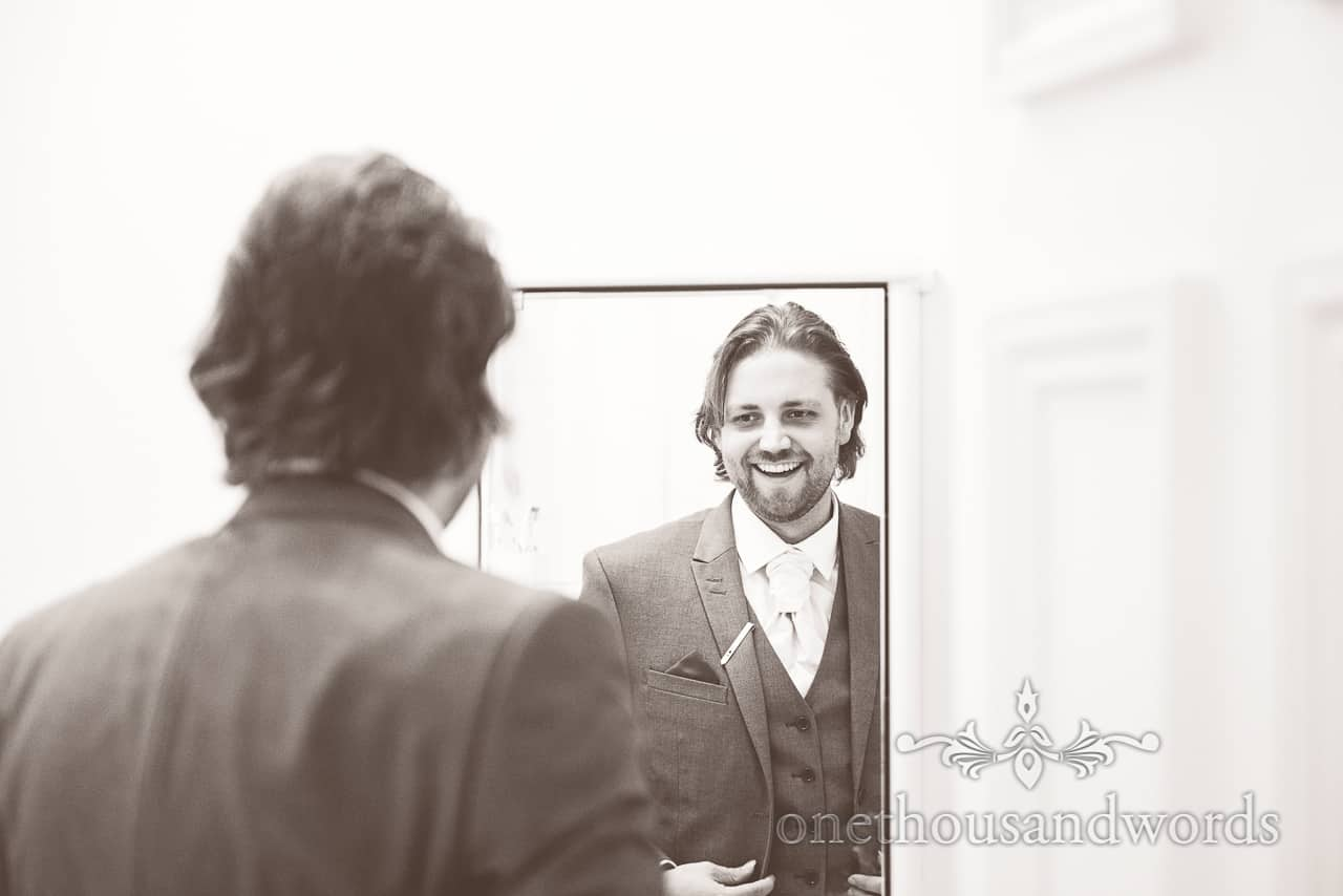 Black and white groom portrait