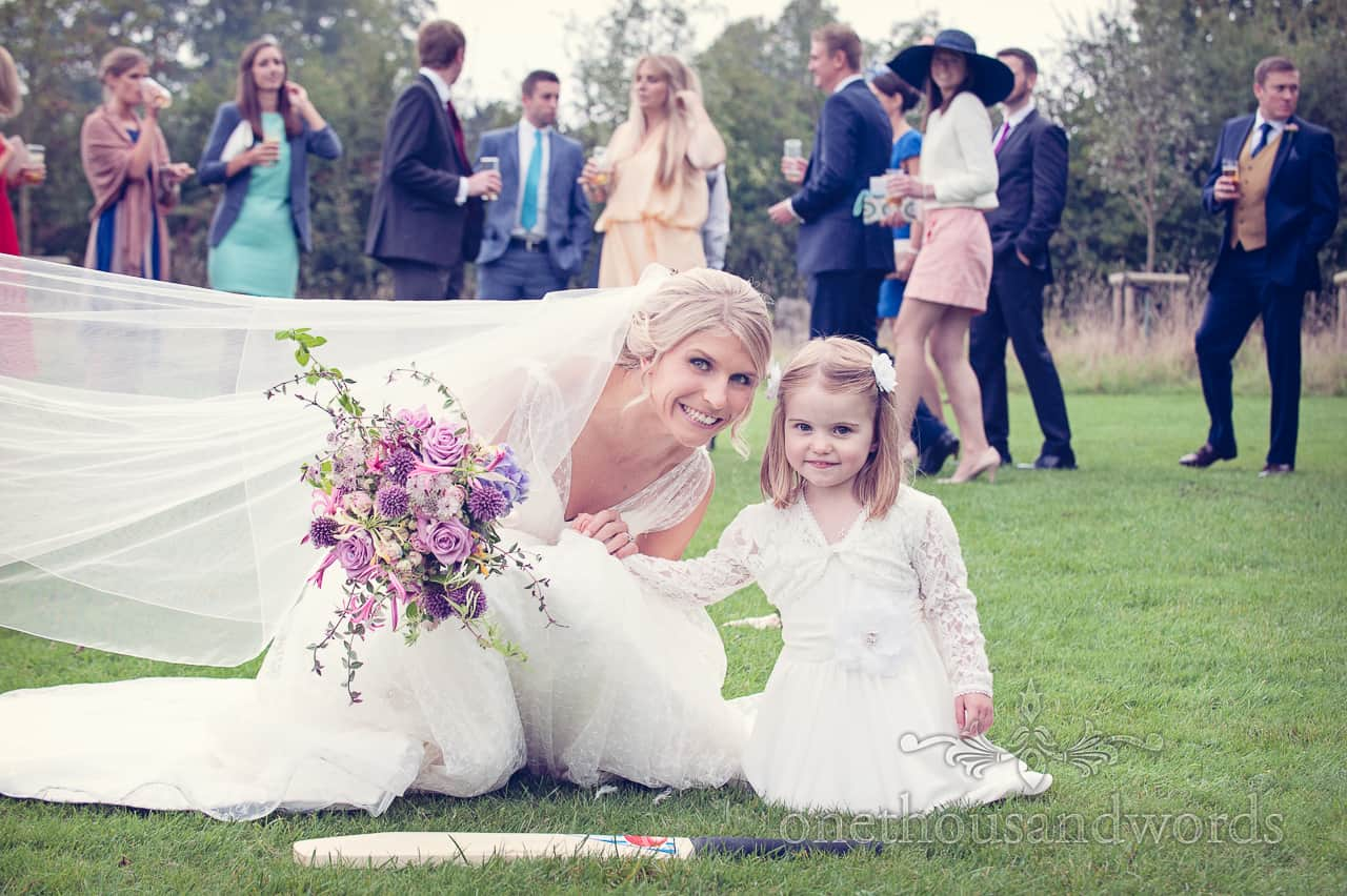 Bride and Flower Girl at Clock Barn Wedding photographs