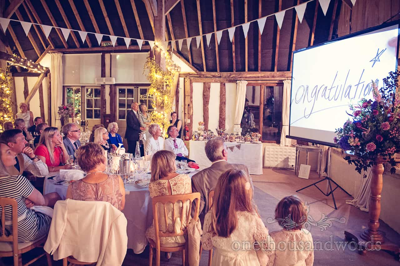 Wedding speeches with video at Clock Barn
