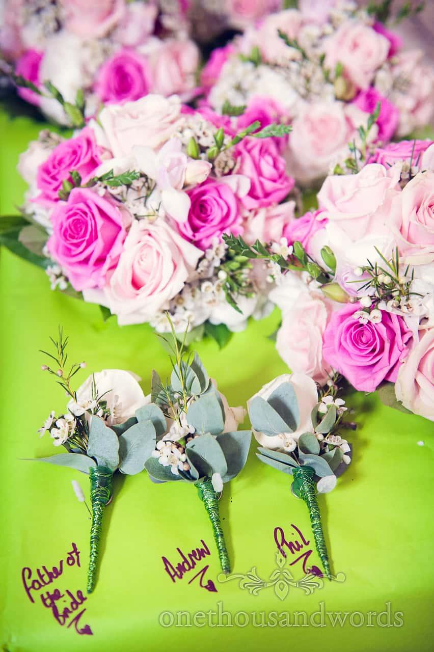 Pink and cream wedding flowers
