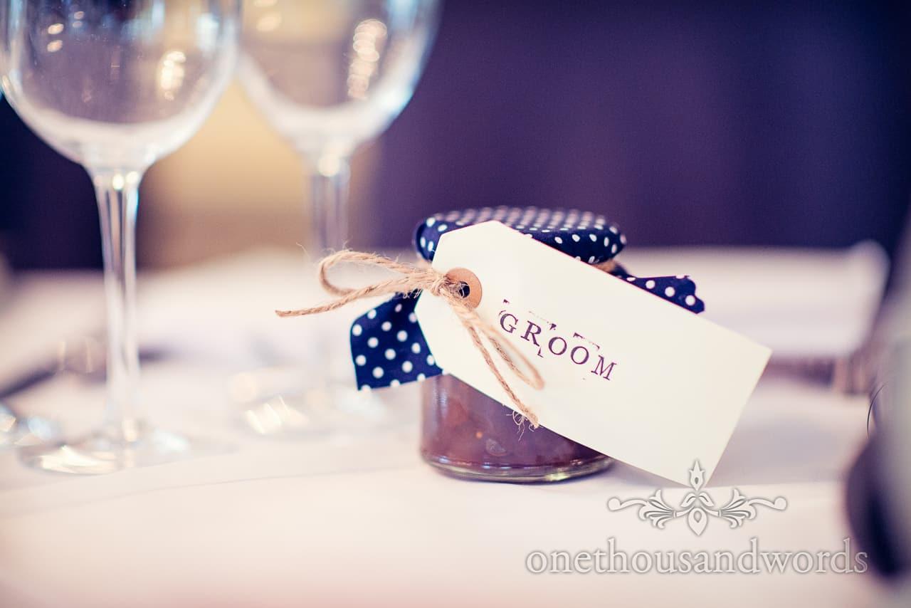 groom place card with wedding jar