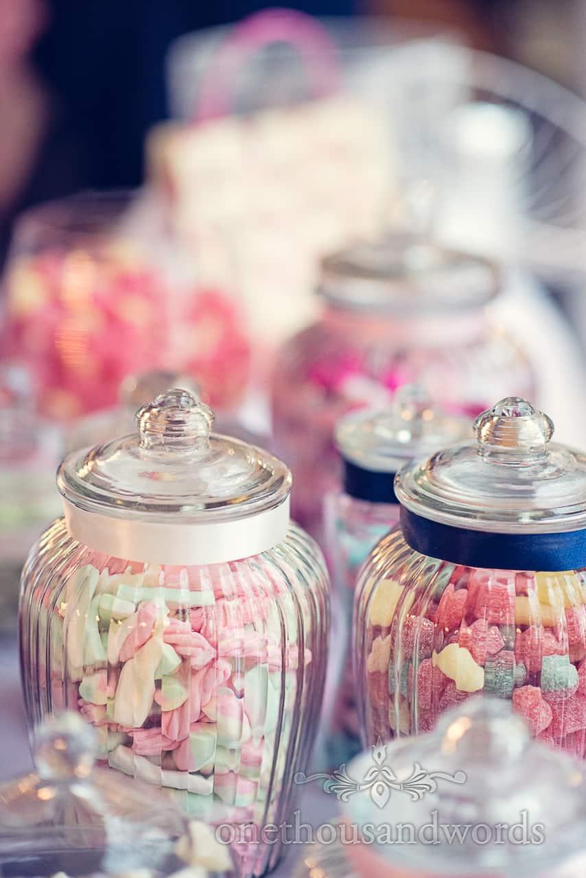 Sweet jars at Lord Bute wedding in Dorset