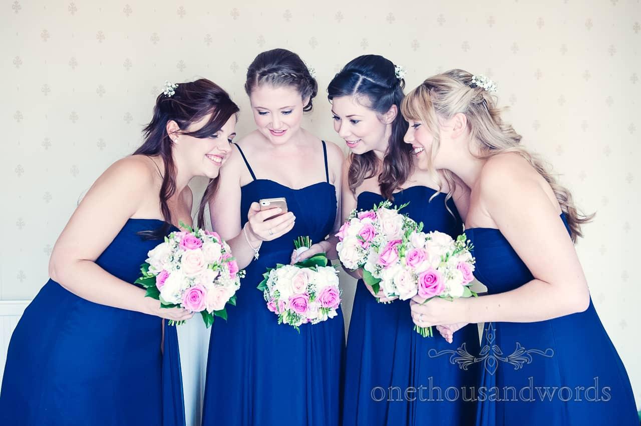 Bridesmaids in blue wedding dresses