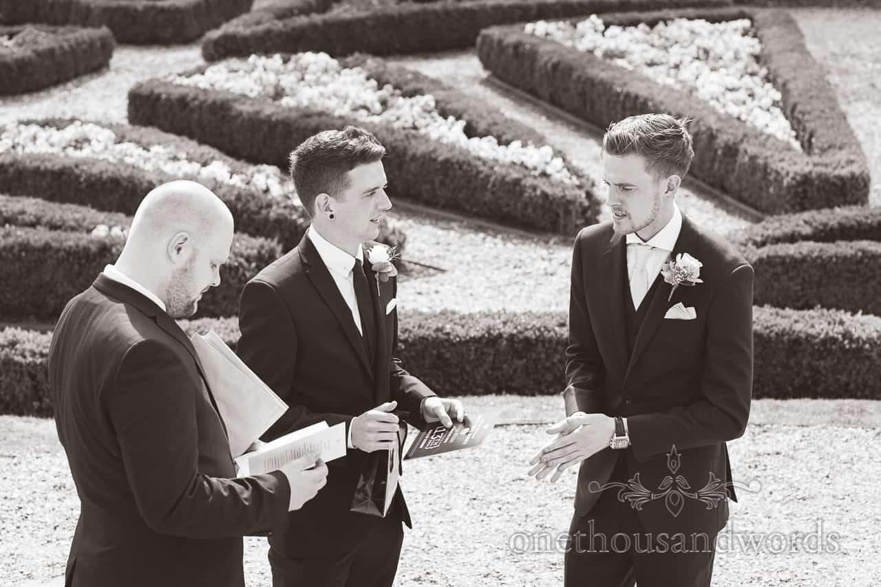 groom and groomsmen at Highcliffe castle wedding photographs