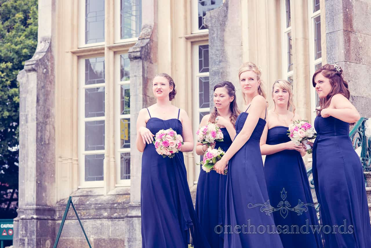Bridesmaids in blue at Highcliffe Castle Photographs
