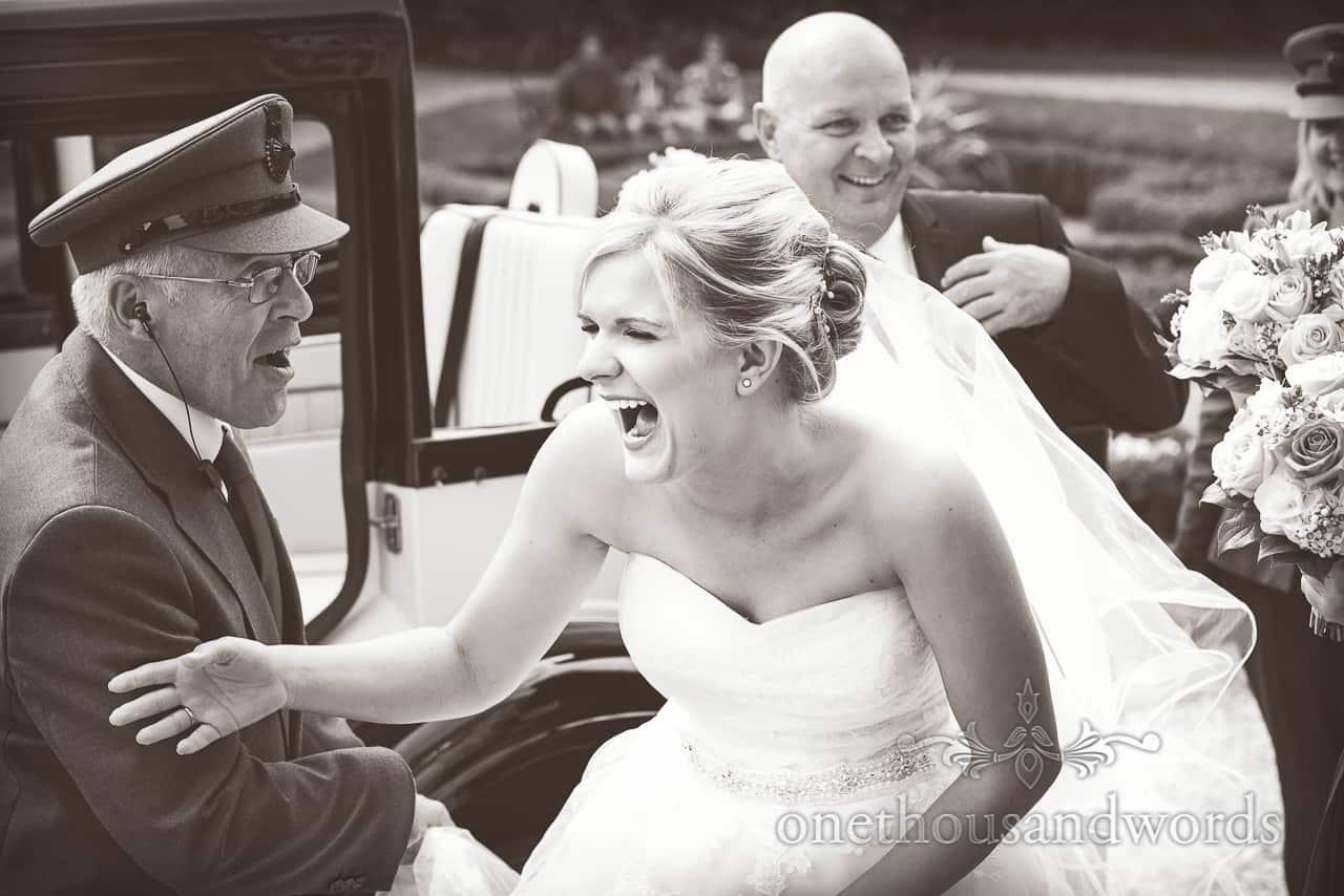 Bride arrives at Highcliffe Castle Photographs