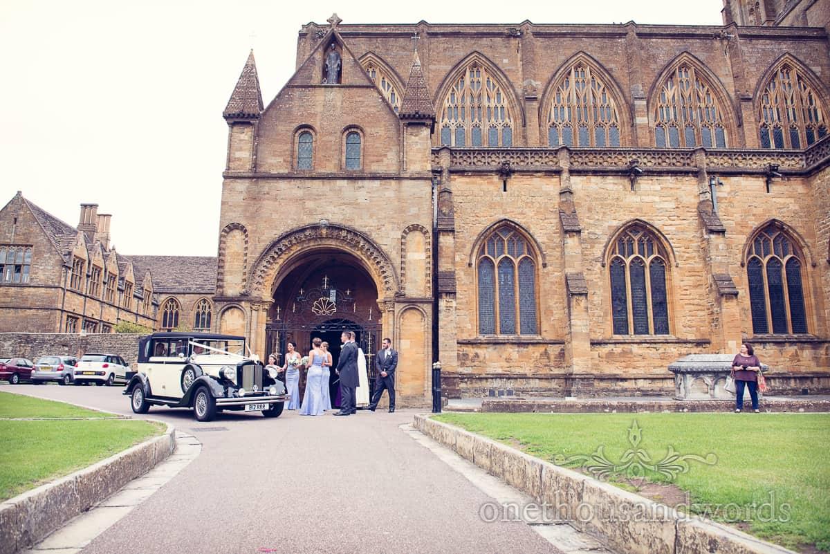Wedding car at Sherborne Abbey wedding
