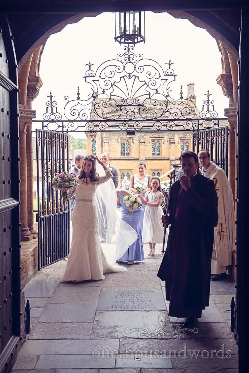 bride enter Sherborne abbey wedding ceremony